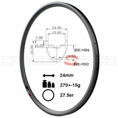 HR724C 24mm Wide 27.5er Super light carbon mtb rim clincher