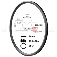 HR924C 24mm Wide 29er Super light mtb carbon rim clincher