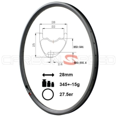 AS728C 27.5er 28mm wide Asymmetric mtb bike rim