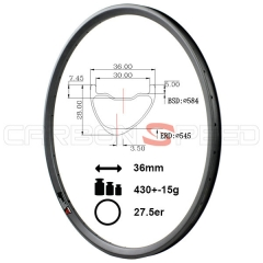 AS736C 27.5er 36mm wide Asymmetric carbon rim mtb