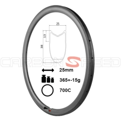 RM38T-25mm wide 38mm Tubular Road Bike Carbon Rim