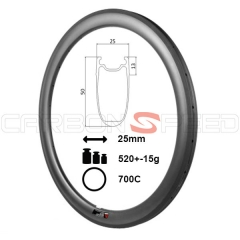 ZR50C-25mm wide 50mm Tubeless Clincher carbon road bike rim