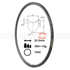 RM24T-20.5mm 24mm tubular carbon rim 20.5mm wide